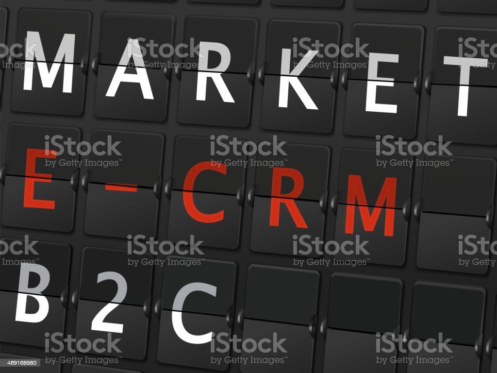 market E-CRM B2C words on airport board vector art illustration