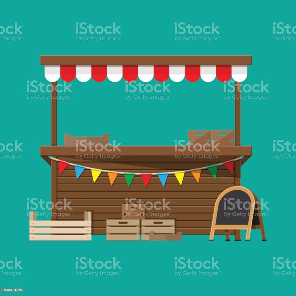 Market food stall with flags, crates, chalk board vector art illustration