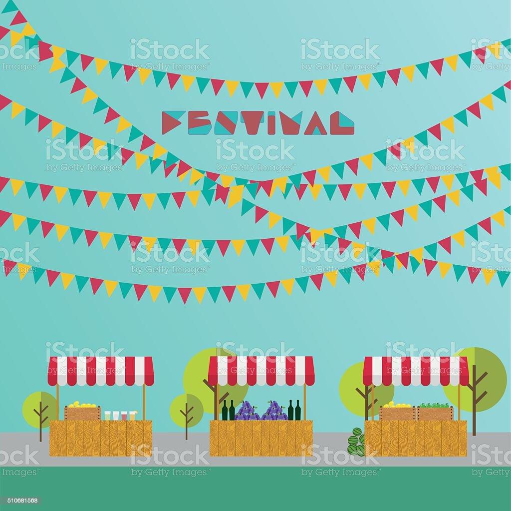 Market place. Festival. Flags outdoor. vector art illustration