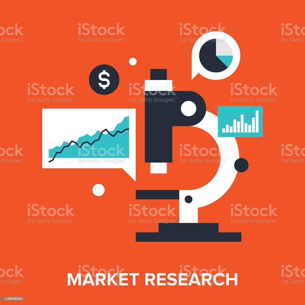 market research vector art illustration