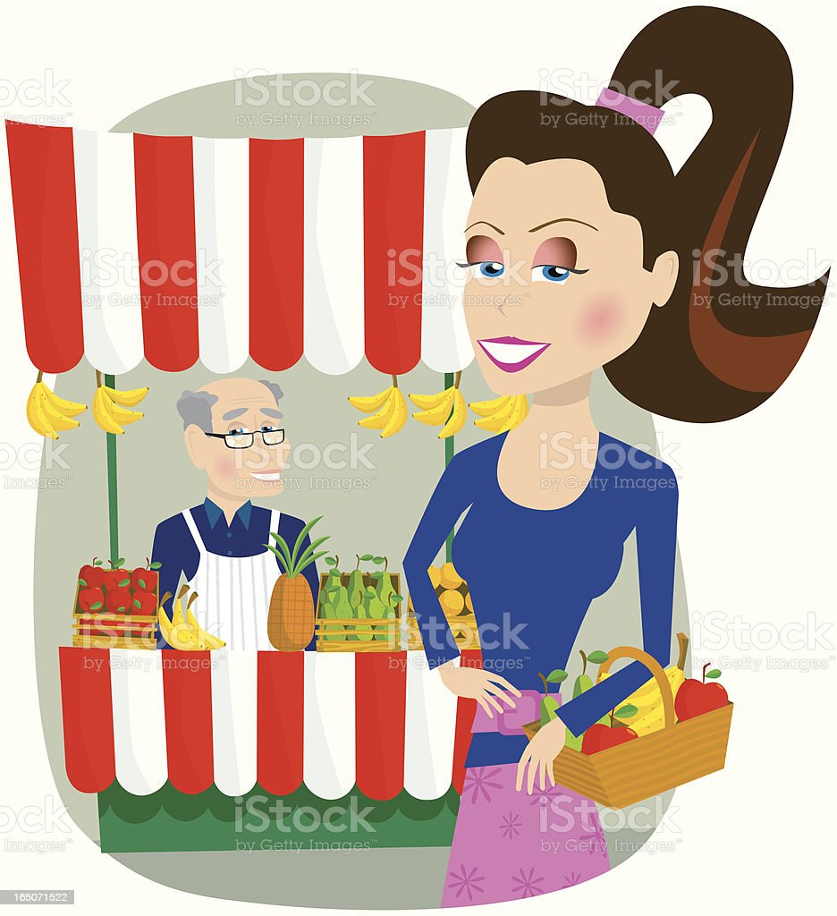 Market stall trader and young woman shopping royalty-free stock vector art