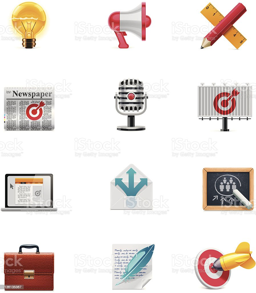 Marketing and advertising icon set royalty-free stock vector art