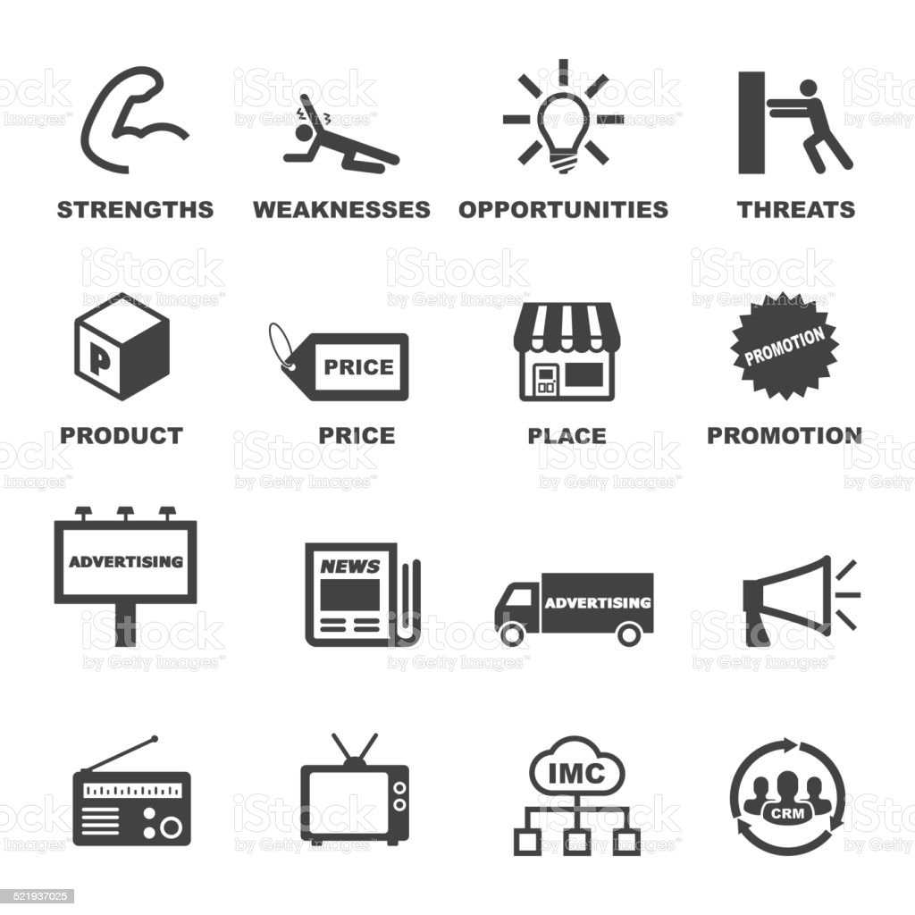 marketing and advertising icons vector art illustration