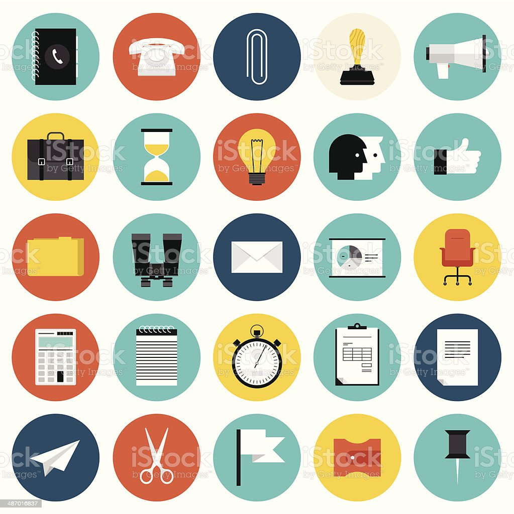 Marketing and business flat icons set vector art illustration