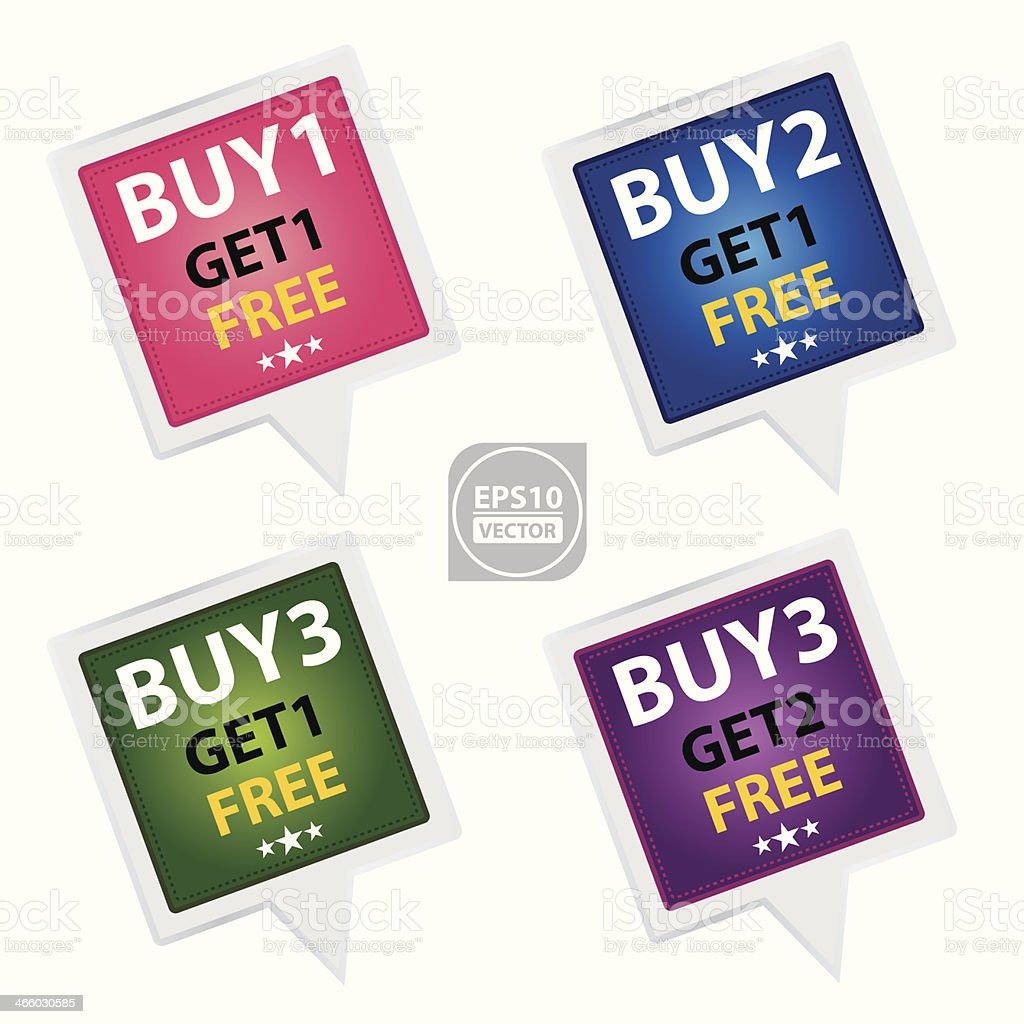 Marketing Campaign Sticker set. royalty-free stock vector art