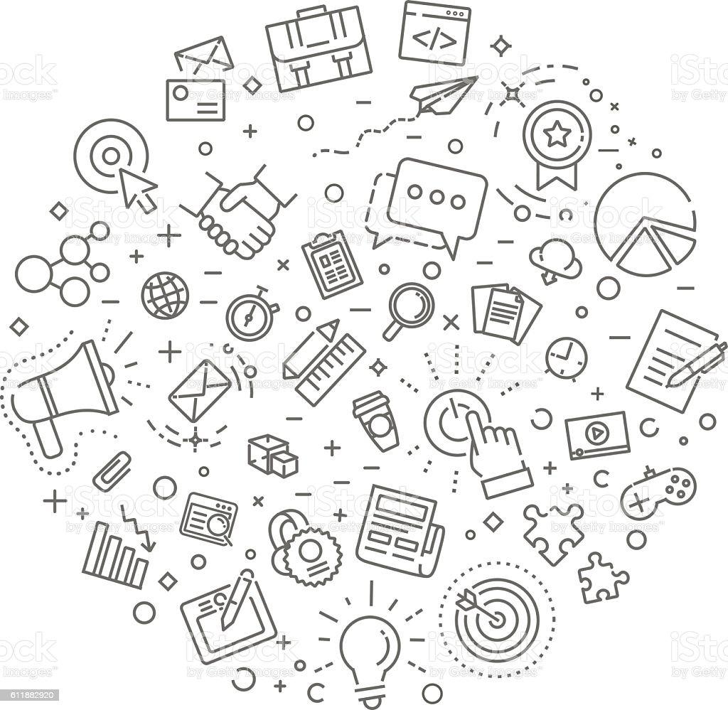 marketing concept illustration, line design vector art illustration