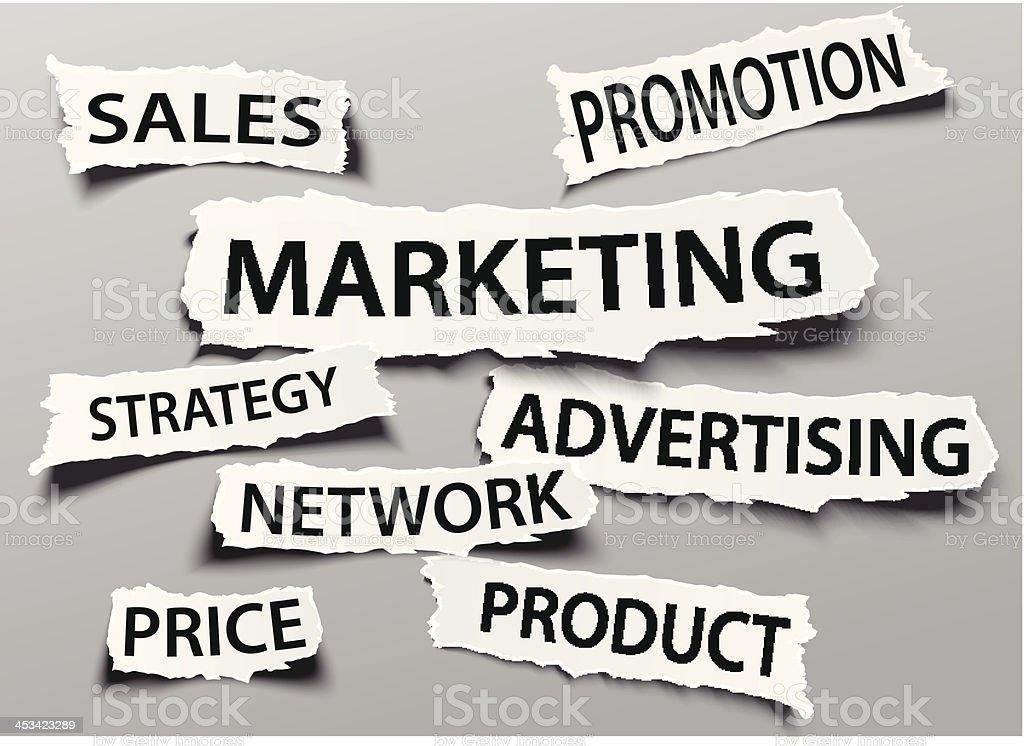 Marketing concept on torn newspaper headline royalty-free stock vector art