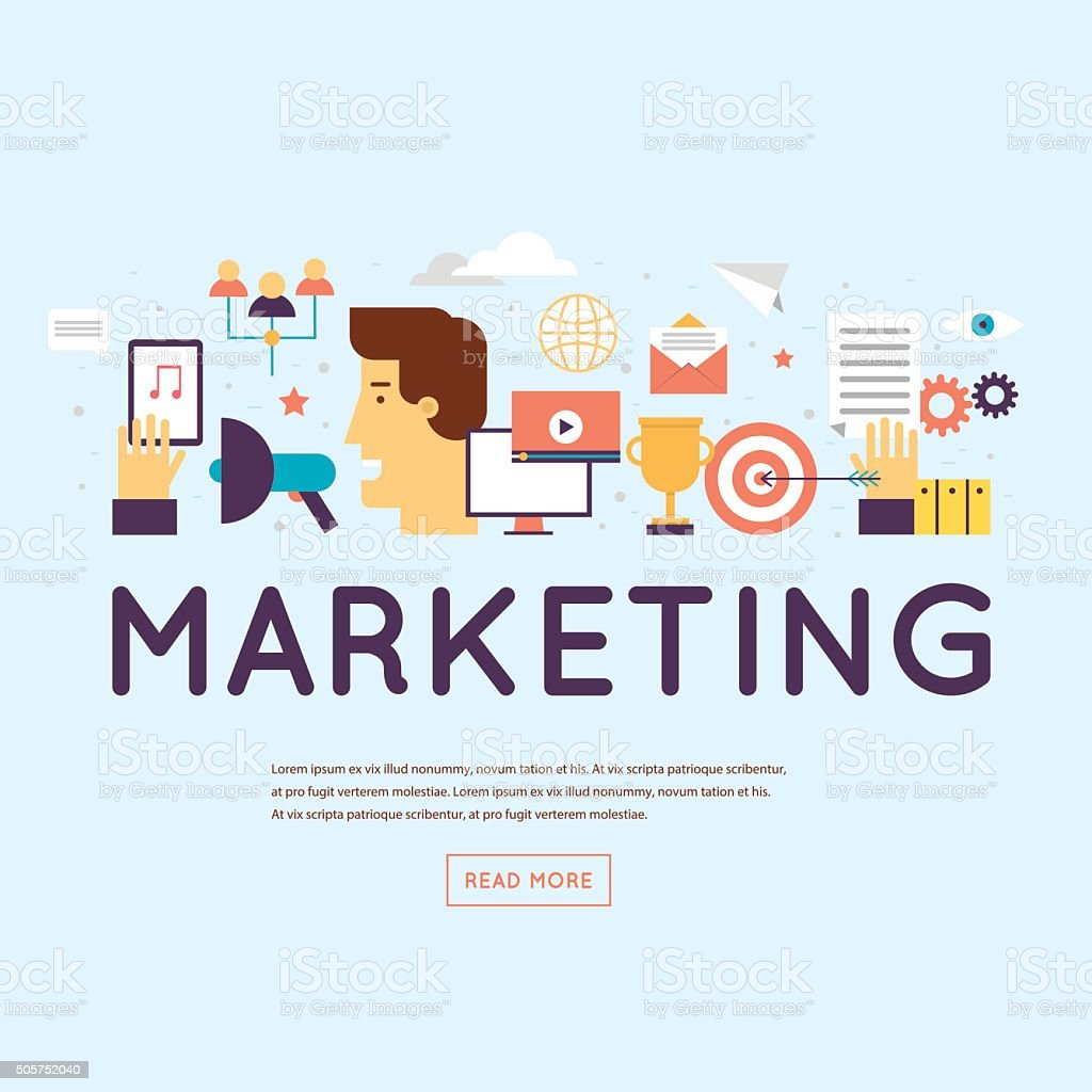 Marketing, email marketing, video marketing and digital marketing. vector art illustration