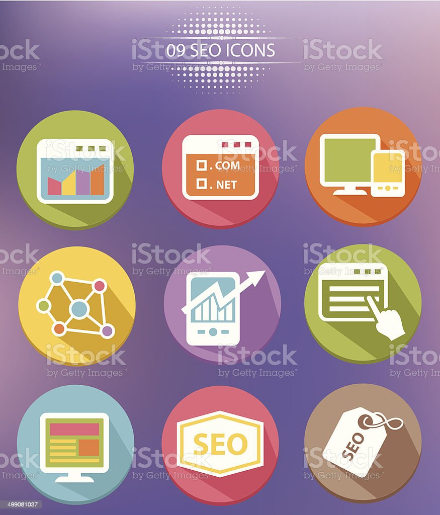SEO Marketing Flat icons,vector royalty-free stock vector art