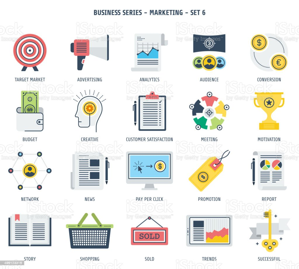 Marketing Icon Set vector art illustration