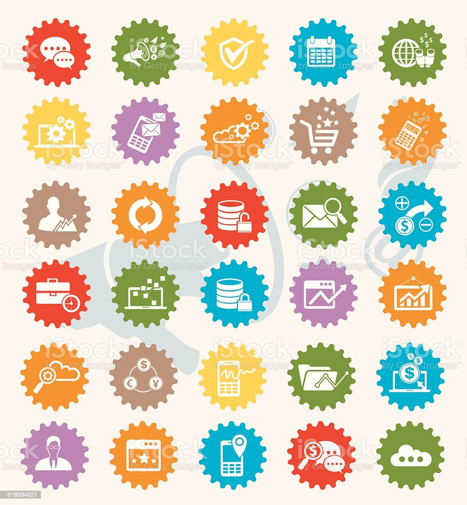 Marketing icon set,colour version,clean vector vector art illustration