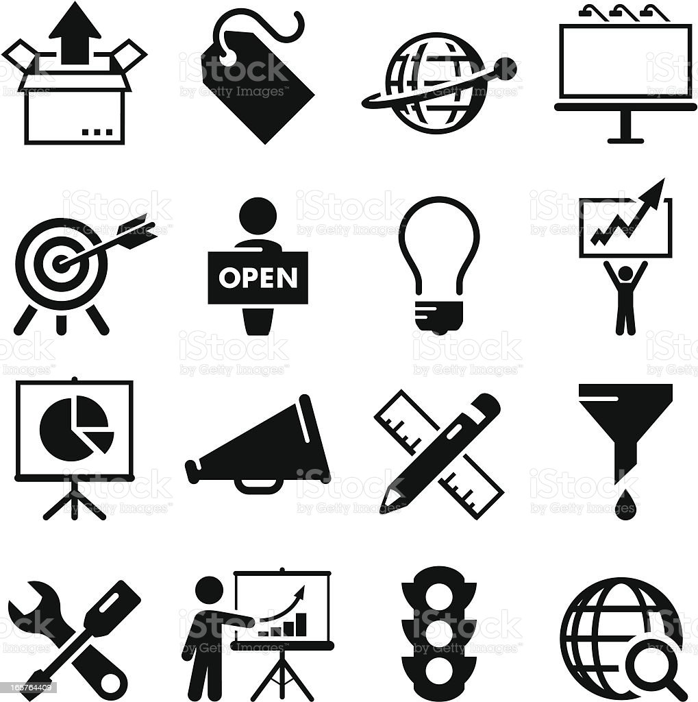 Marketing Icons - Black Series vector art illustration