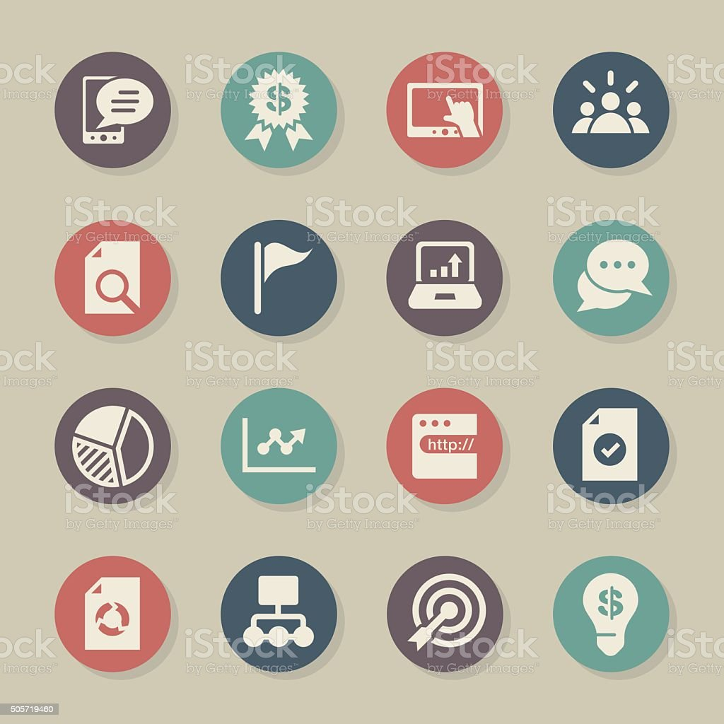 Marketing Icons - Color Circle Series vector art illustration