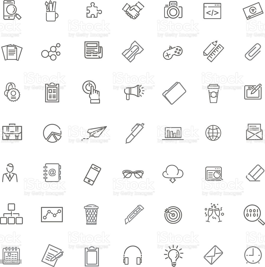 Marketing Icons set vector art illustration