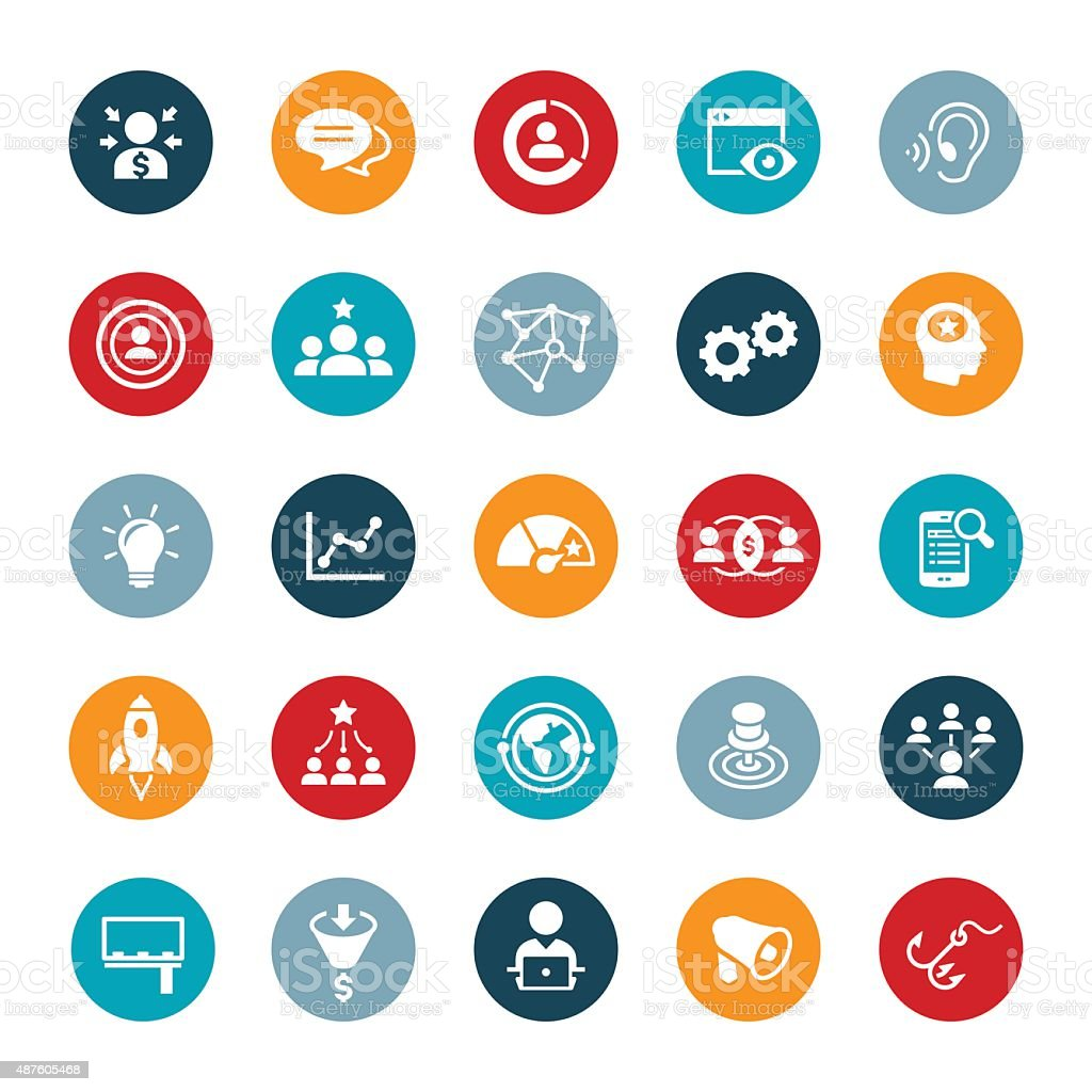 Marketing Icons vector art illustration