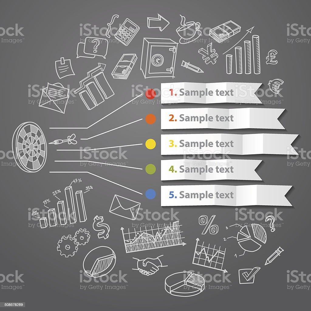 Infográfico de Marketing conceito de desenho de mão e negócios e Rabiscos vetor e ilustração royalty-free royalty-free
