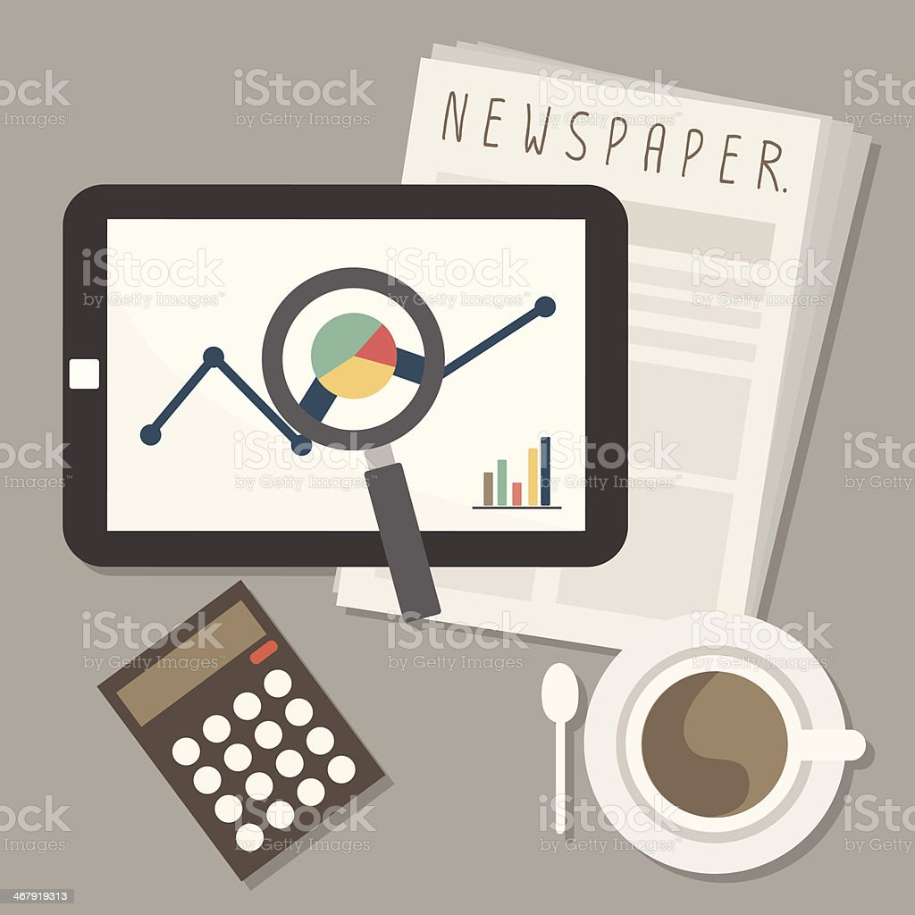marketing on tablet and newspaper with coffee vector art illustration