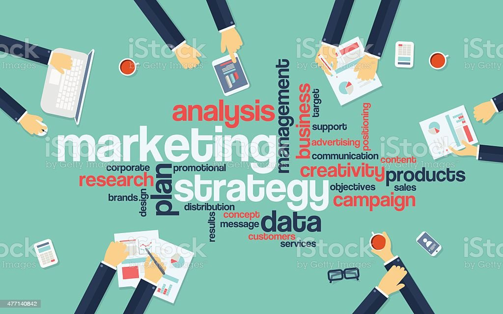 Marketing strategy concept infographics. Word cloud with marketing keywords. Creative vector art illustration