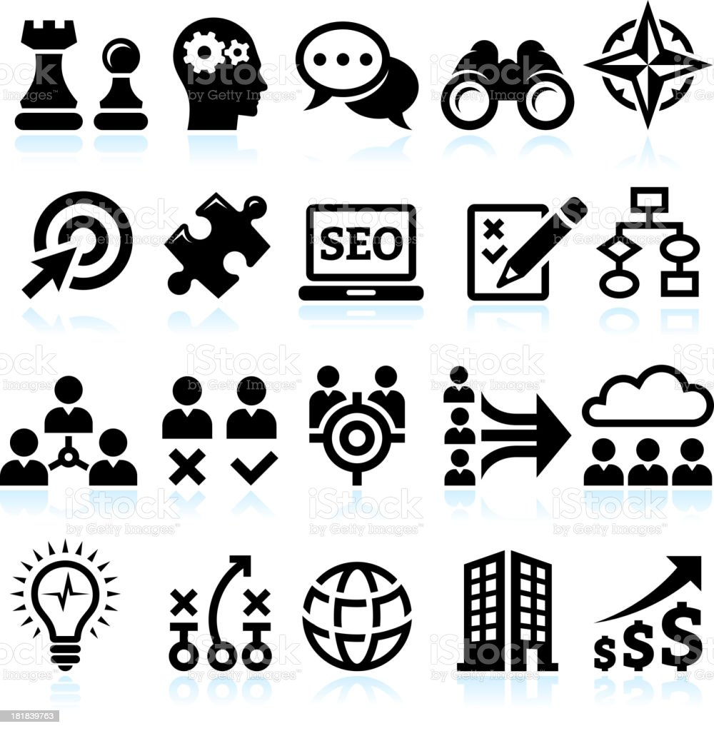Marketing strategy for Building A Powerful Company vector icon set royalty-free stock vector art