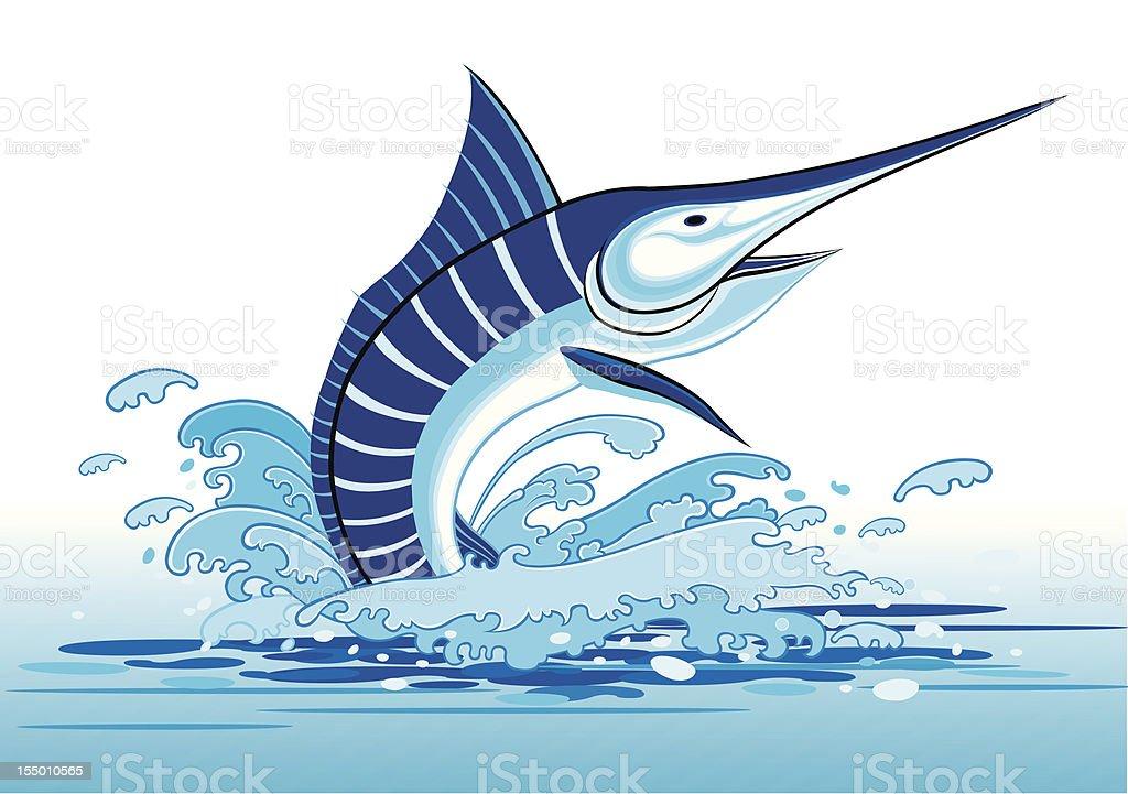 Marlin fish vector art illustration