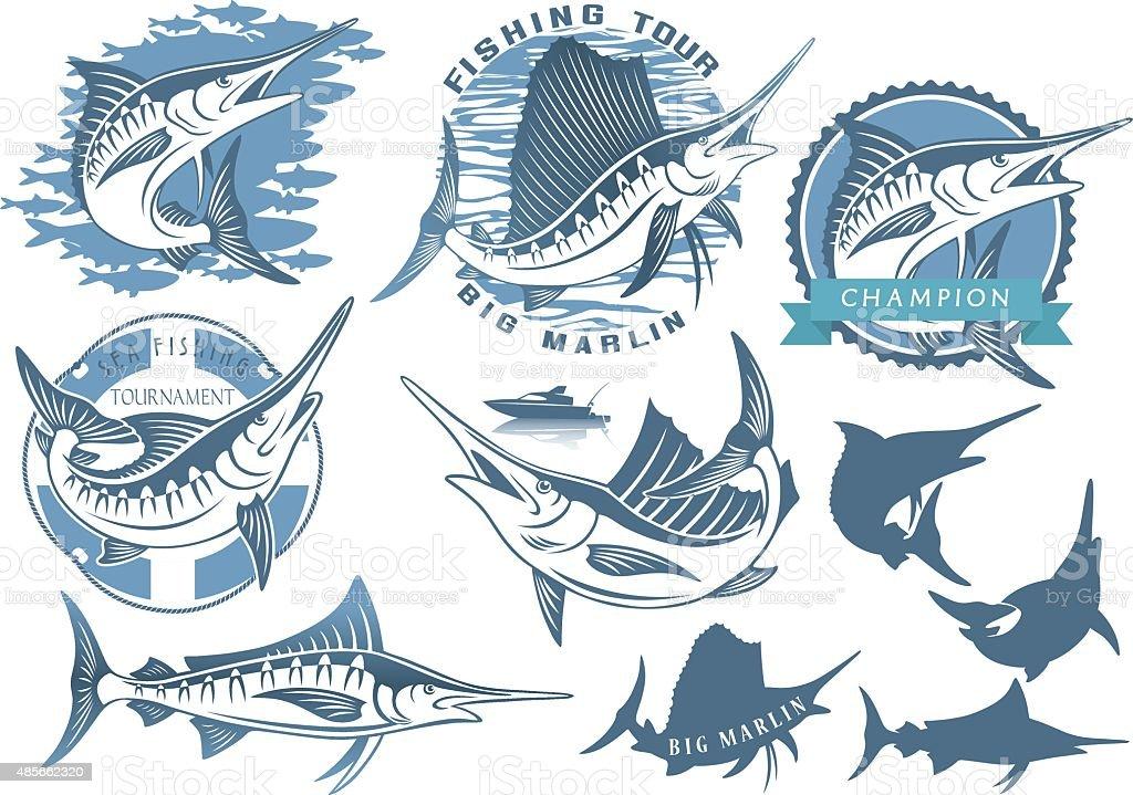 marlin fishing vector art illustration
