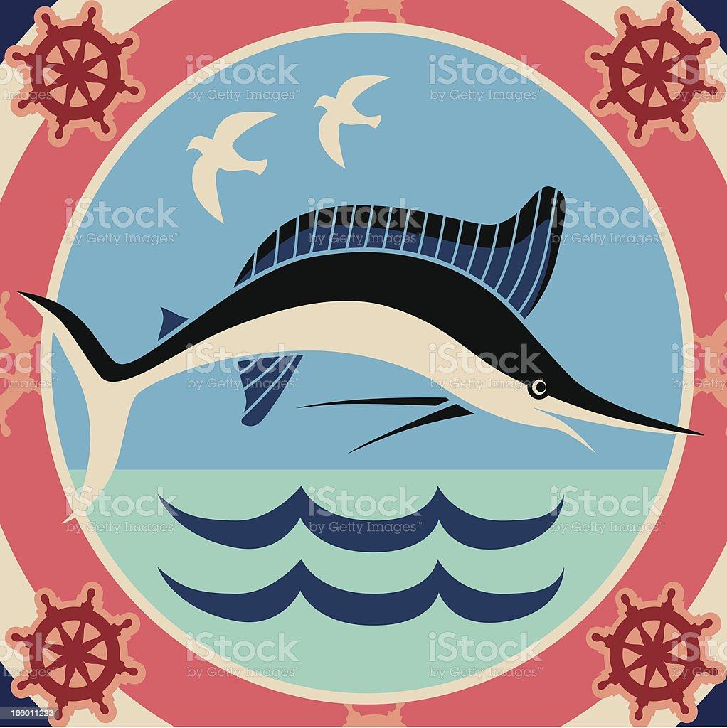marlin jumping royalty-free stock vector art