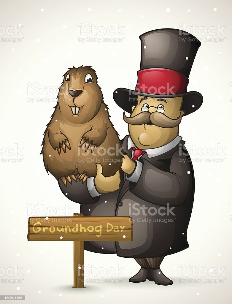 Marmot and man on Groundhog Day royalty-free stock vector art