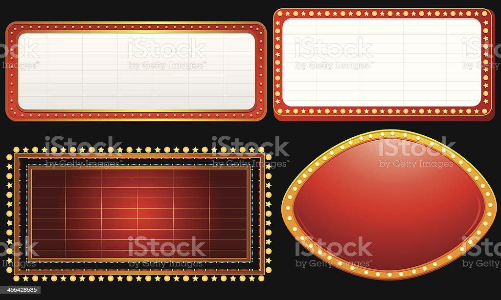 Marquee banner set on black background royalty-free stock vector art