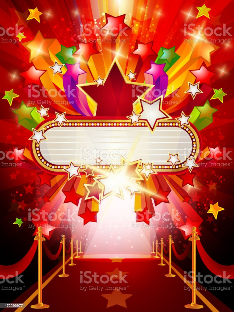 Marquee Banner with Red Carpet Background royalty-free stock vector art