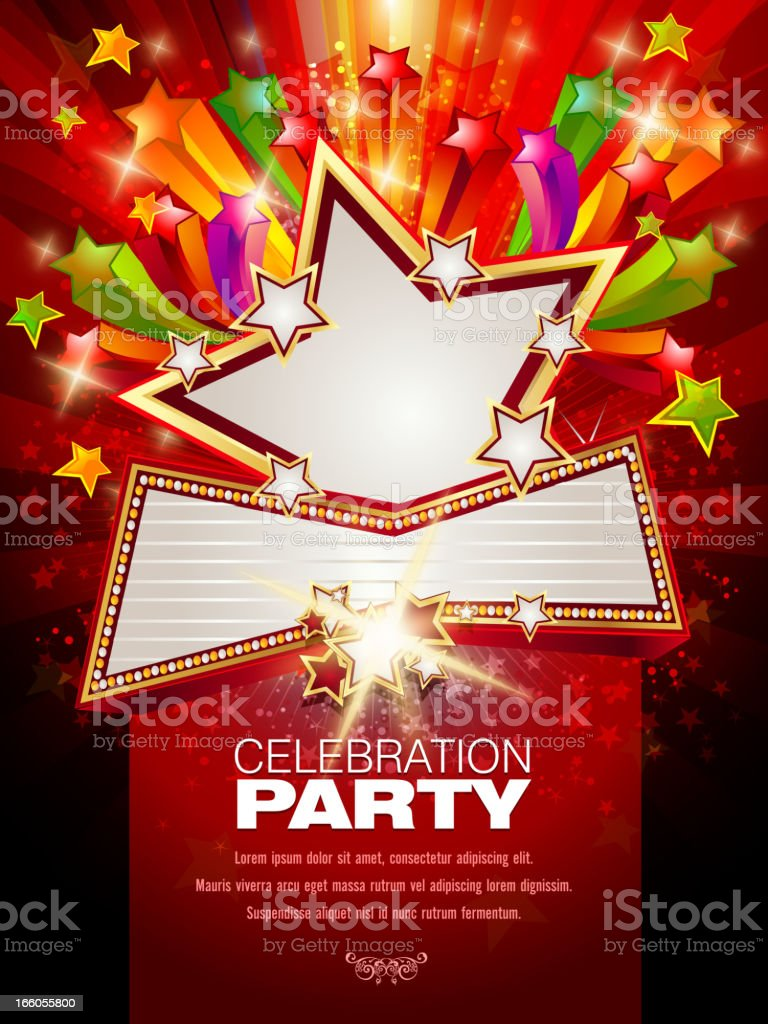 Marquee display banner bursting on a red background royalty-free stock vector art