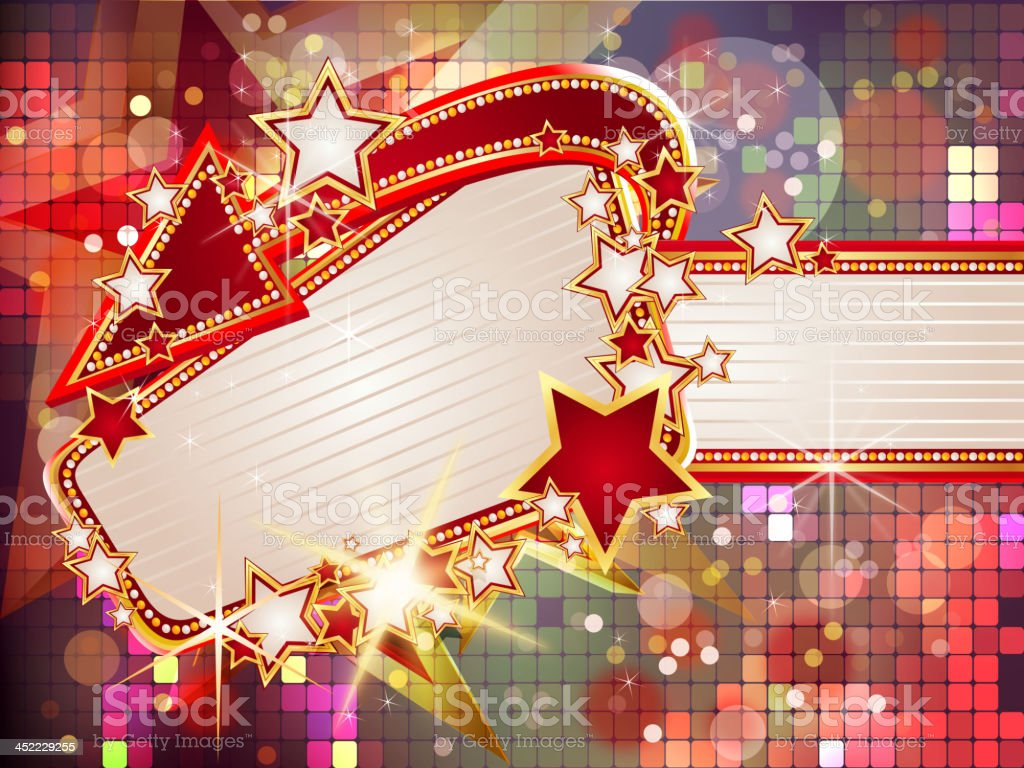 Marquee Display with Disco Lights Background royalty-free stock vector art