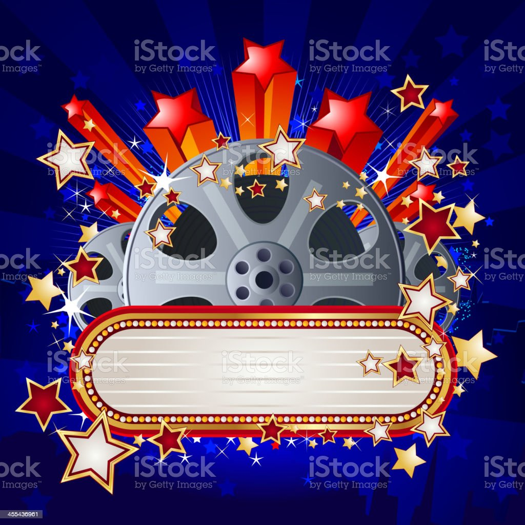 Marquee Display with Film role royalty-free stock vector art