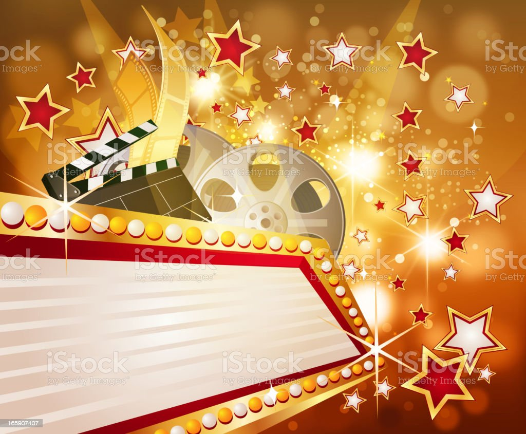 Marquee Display with Stars in Flashy Background royalty-free stock vector art