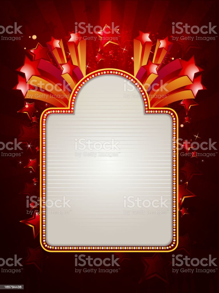Marquee Display with Stars in Rich Background royalty-free stock vector art