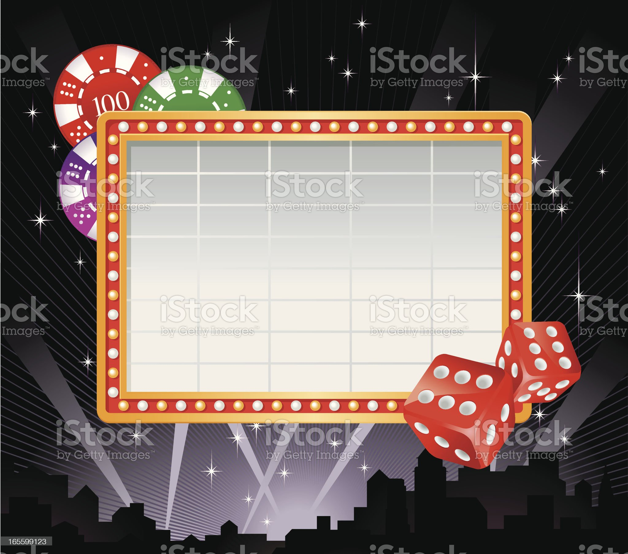 Marquee Frame, Dice and Gaming Chips Vector royalty-free stock vector art