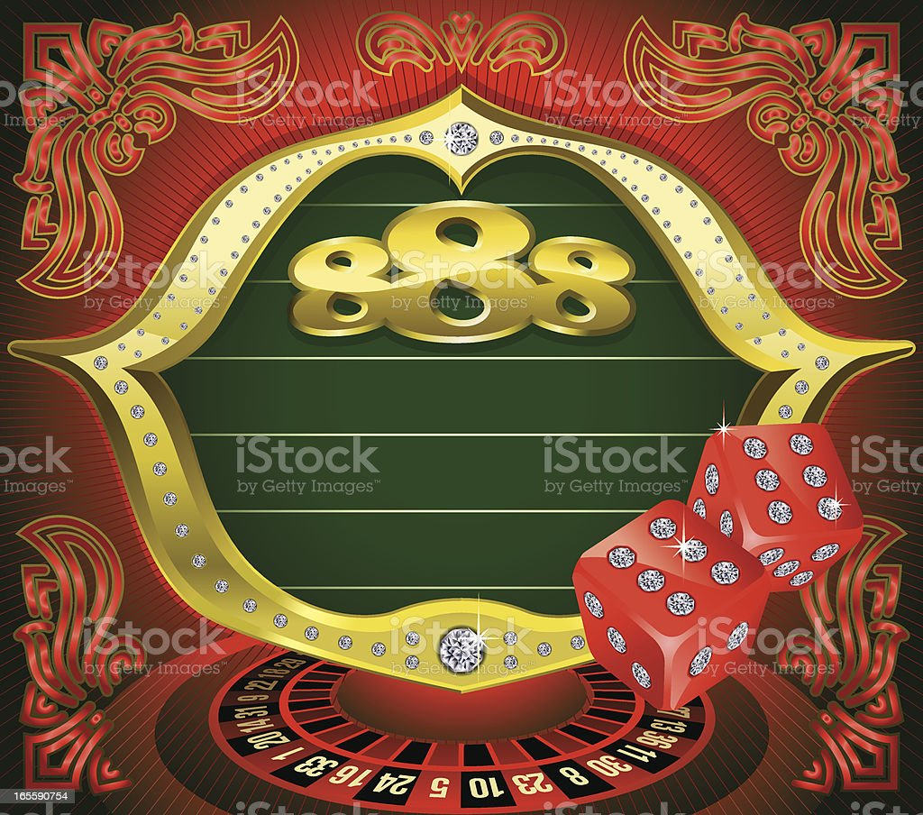 Marquee Frame with Gaming Dices, Roulette Vector vector art illustration