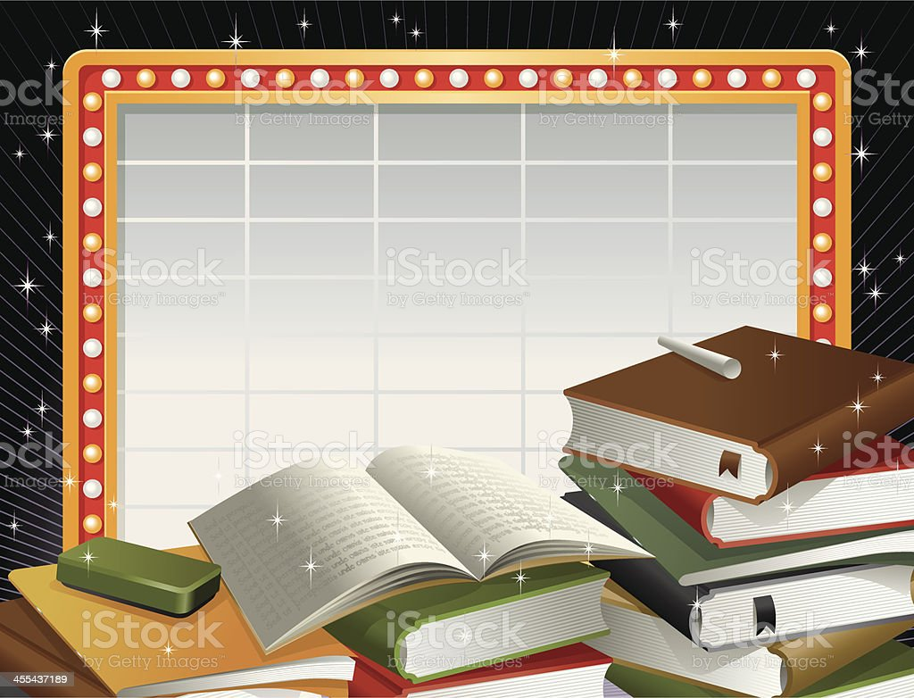 Marquee Neon Frame and Stacks of Books Vector vector art illustration