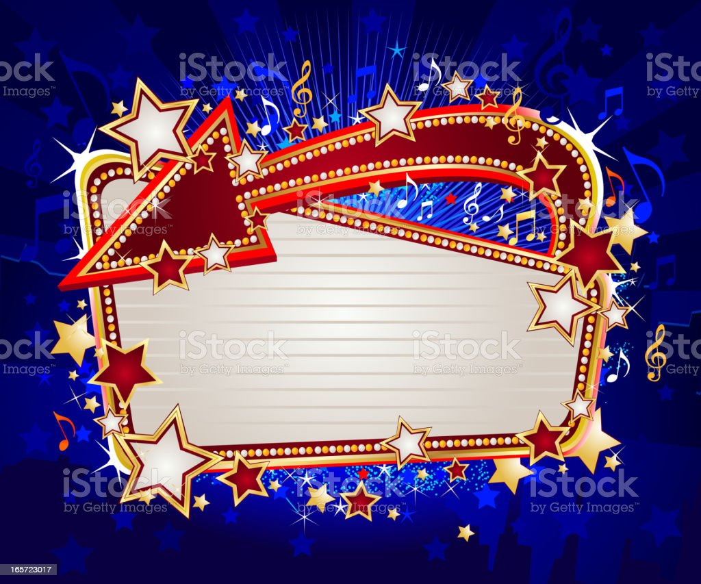 Marquee with Stars and Arrow royalty-free stock vector art