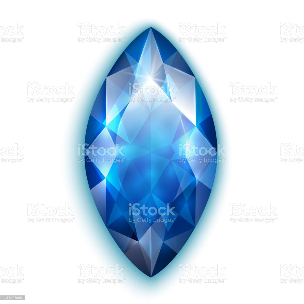 Marquise cut sapphire royalty-free stock vector art