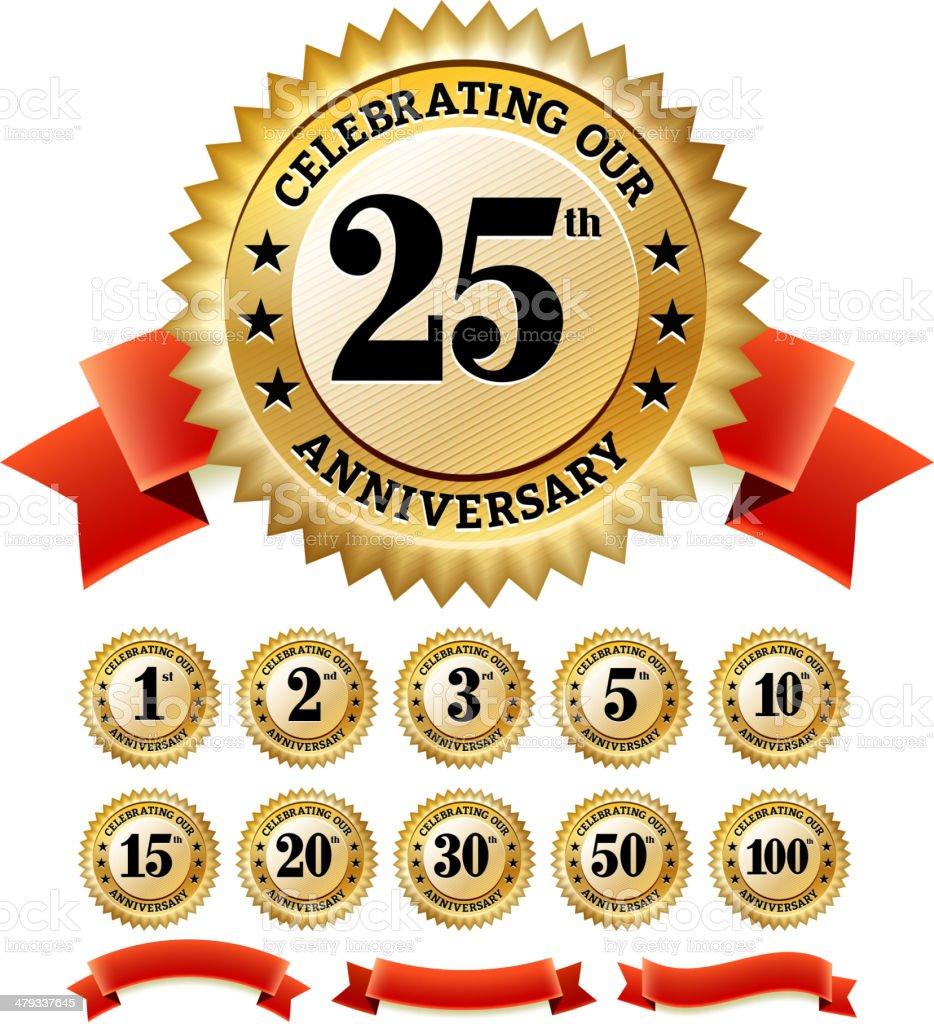 Marriage Anniversary Badges Red and Gold Set vector art illustration