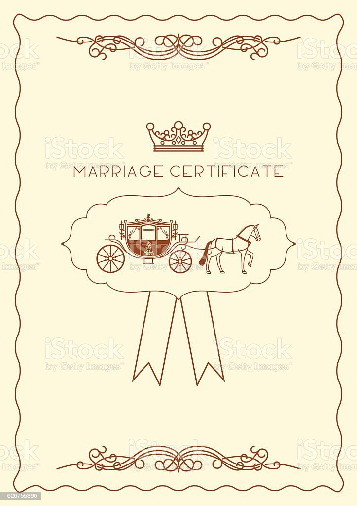 Marriage Certificate Document Template stock vector art 626755390 – Certificate Document Template