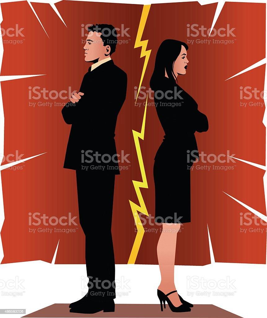 Marriage on Rocks - Couple Back to Back vector art illustration