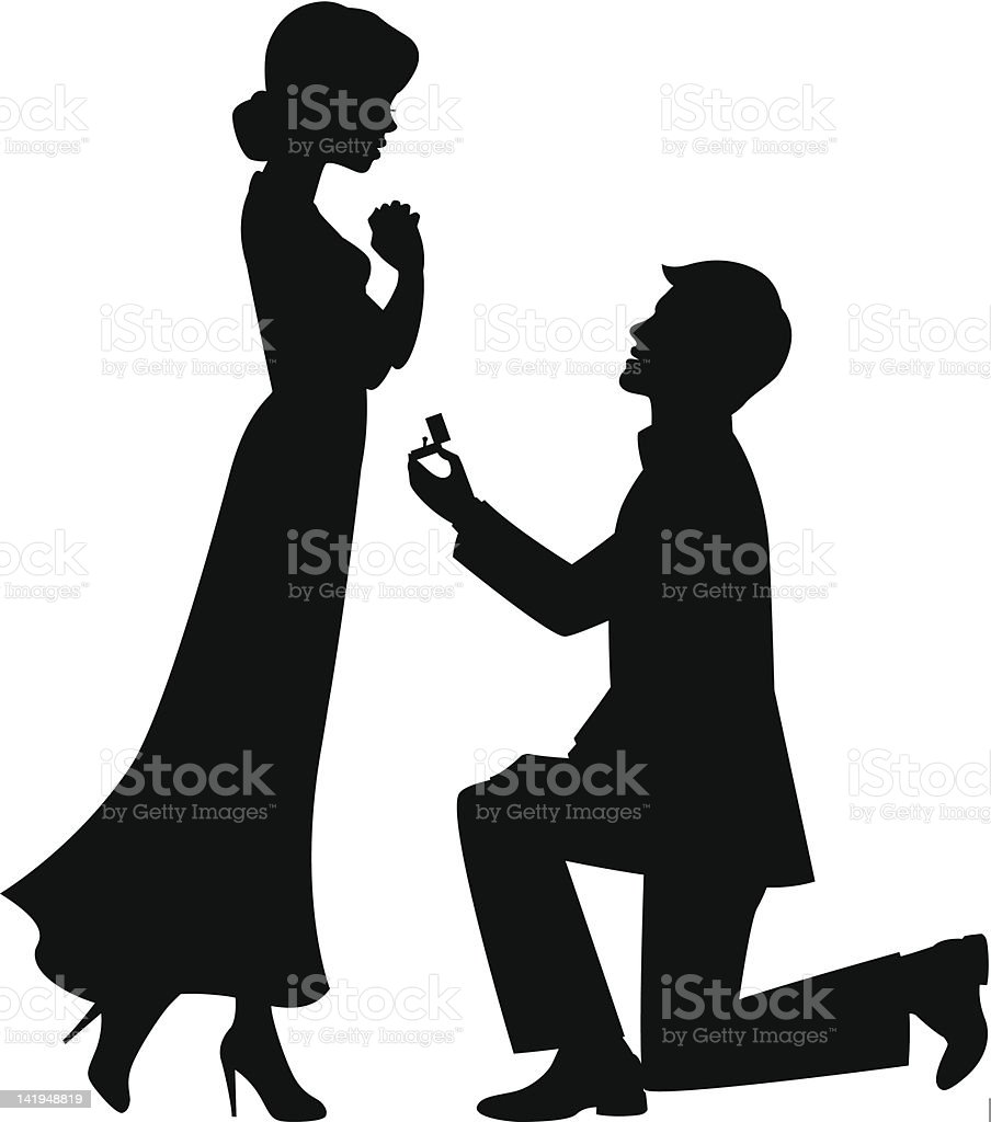Marriage_ proposal vector art illustration