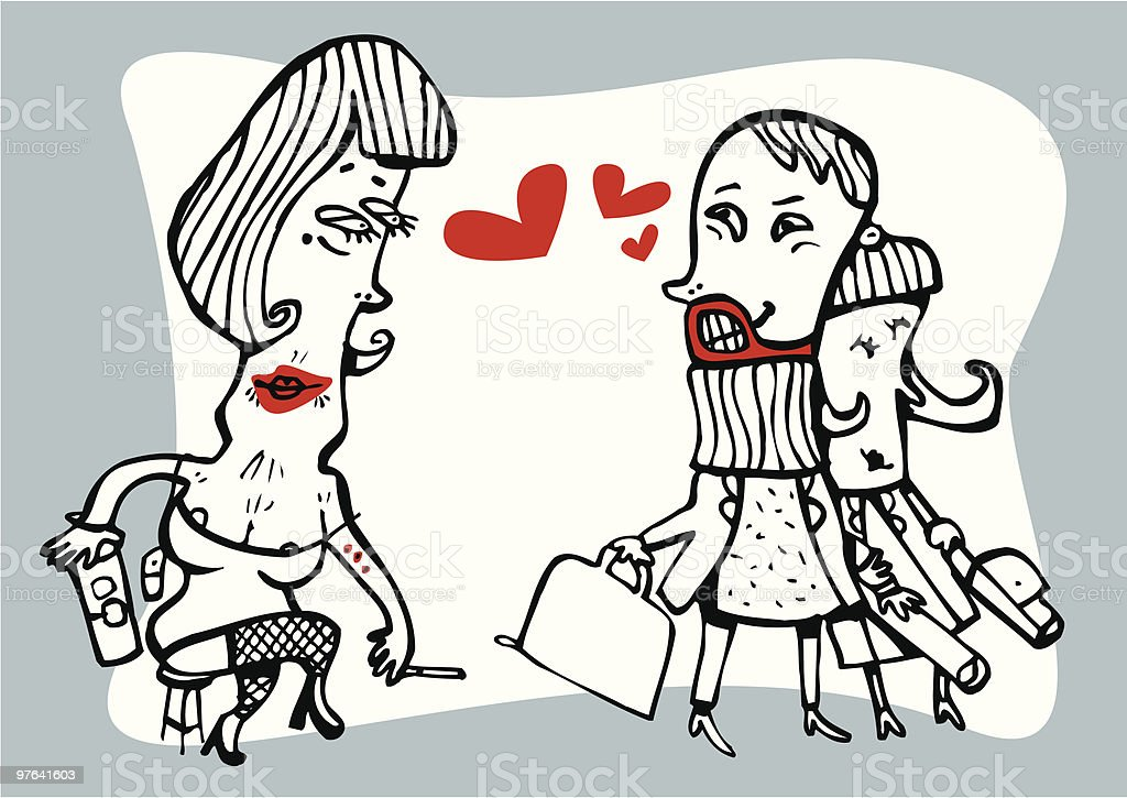 Married man looking lustfully at a prostitute royalty-free stock vector art