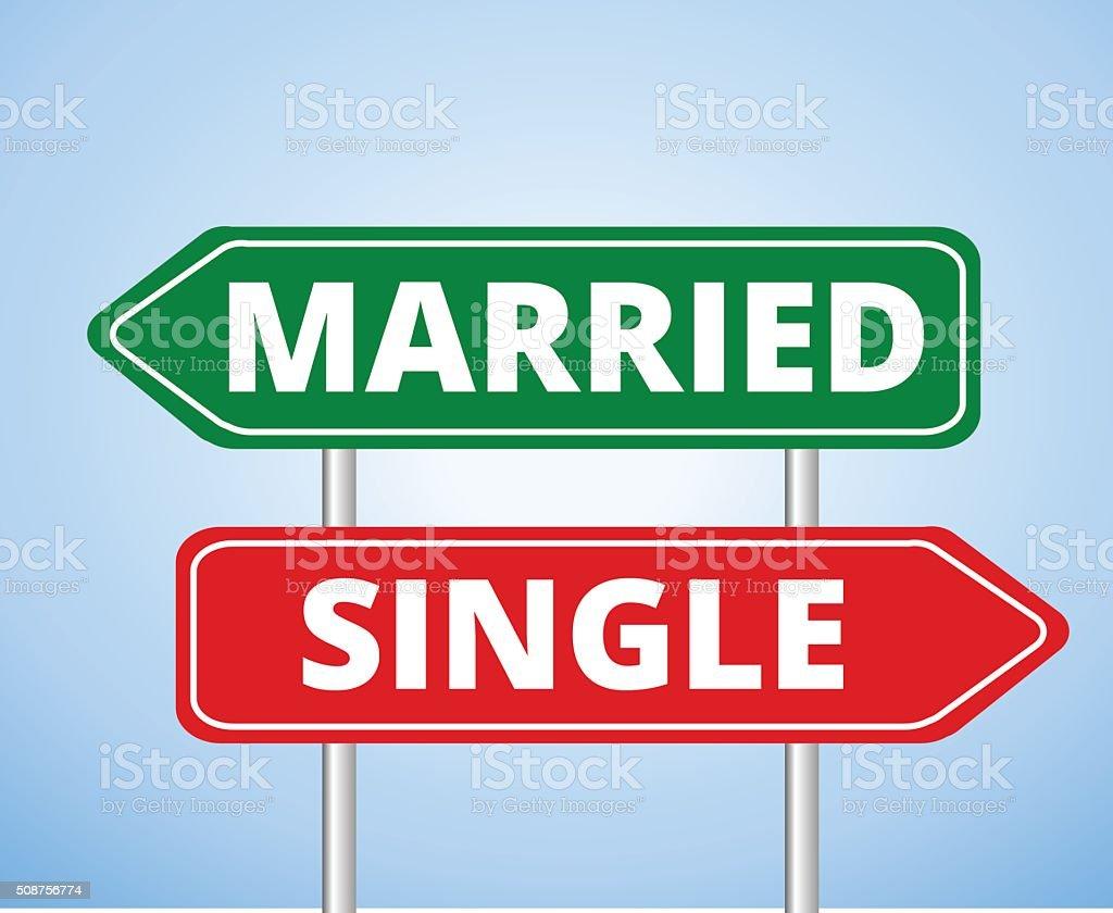 Married vs Single Signs vector art illustration
