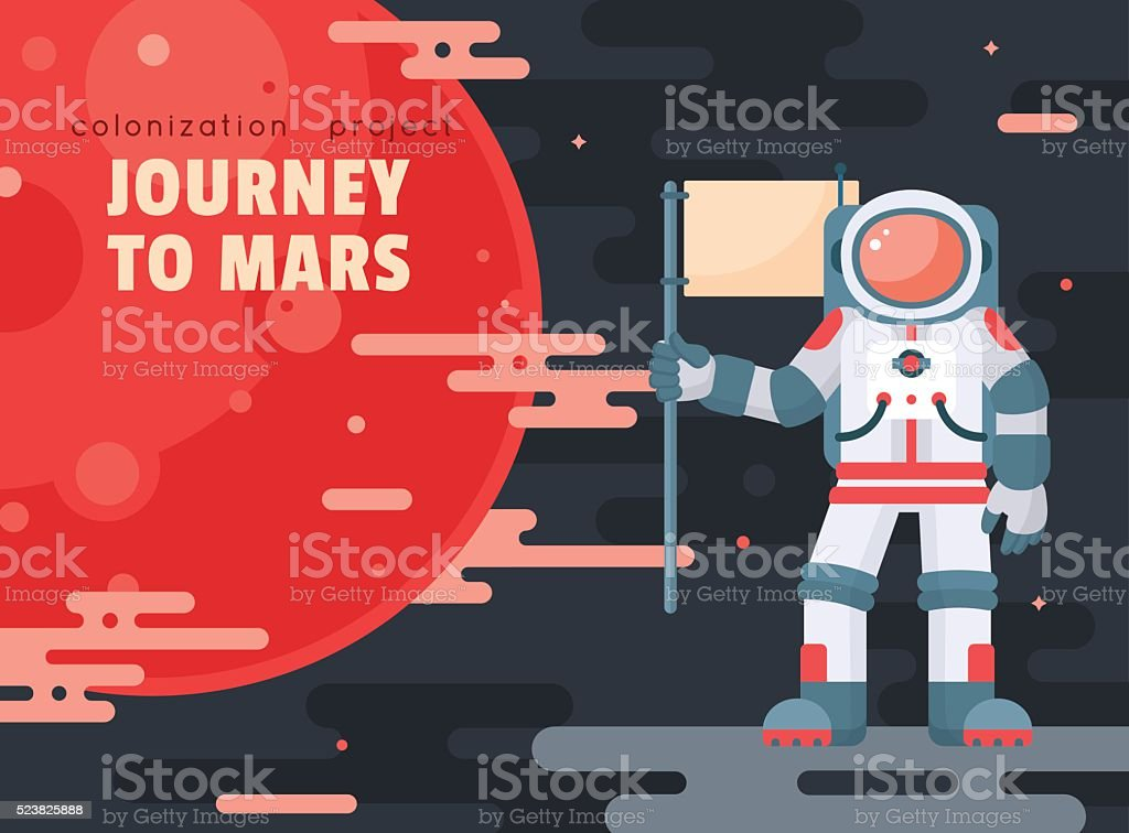 Mars colonization project poster with astronaut holding flag vector art illustration
