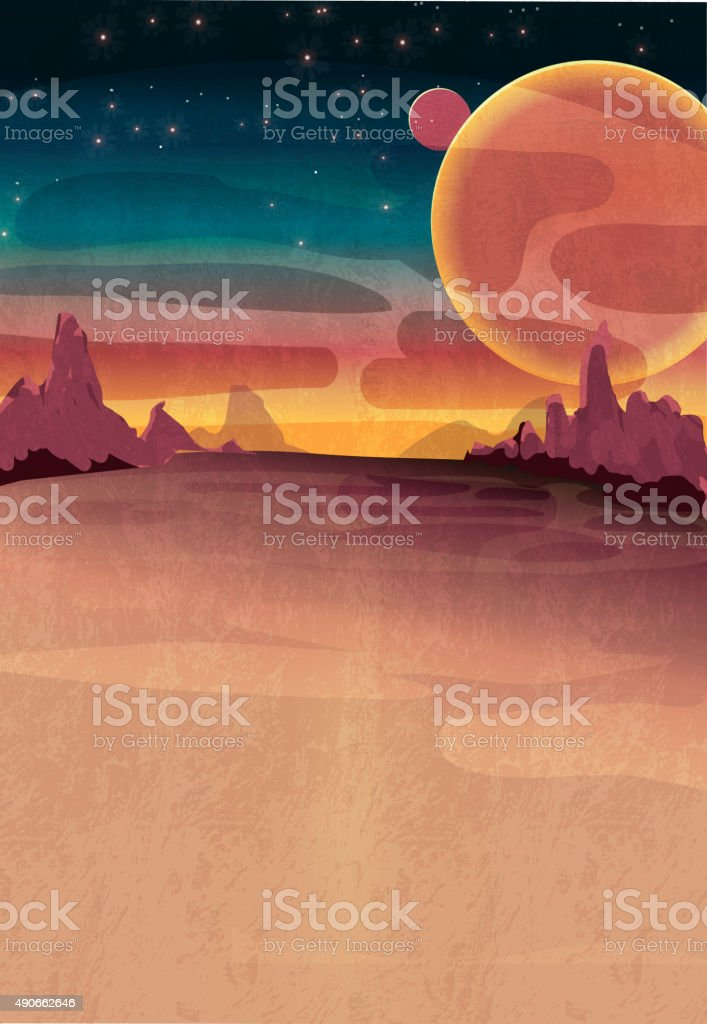 Mars or outerspace scene poster vector art illustration