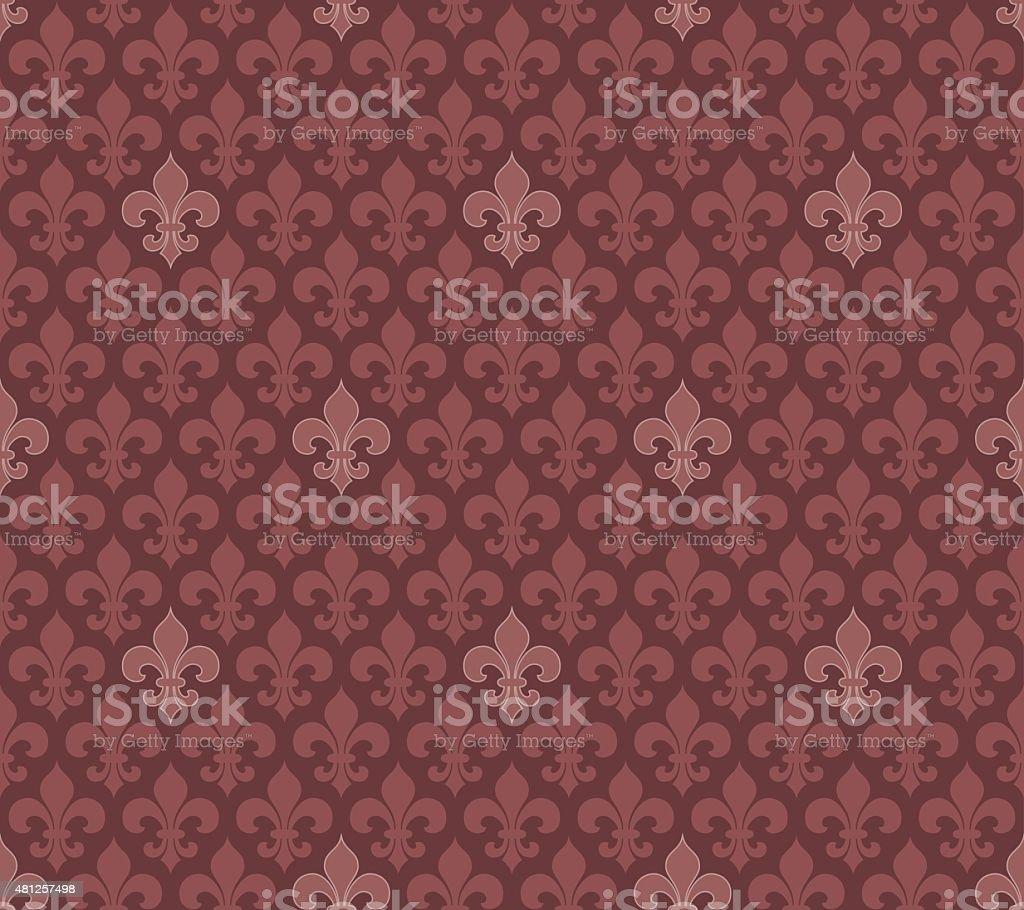 Marsala color Fleur De Lis seamless wallpaper vector art illustration