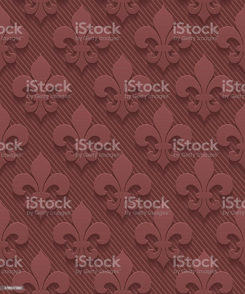 Marsala color vector seamless pattern with 3D effect vector art illustration