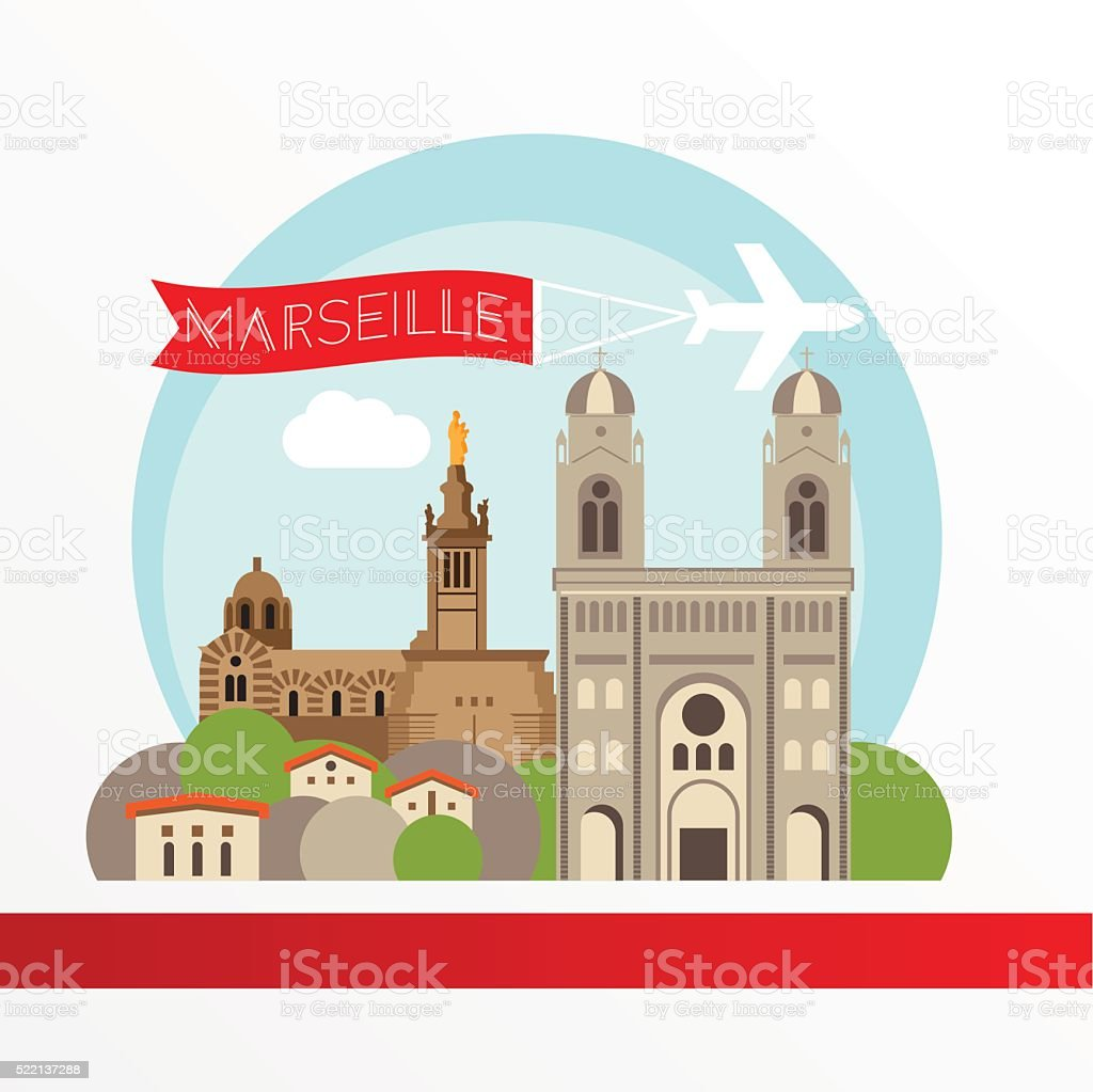 Marseille detailed silhouette. Stylish colorful landmarks. vector art illustration